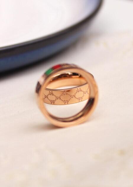 gucci玫瑰金欧美时尚同款戒指