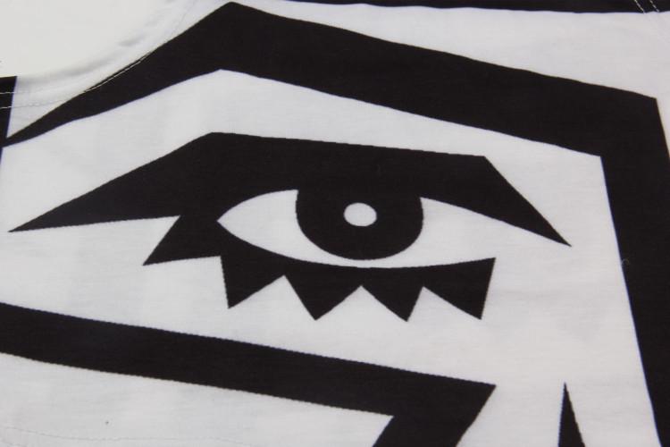 黑白眼睛几何图案露脐背心