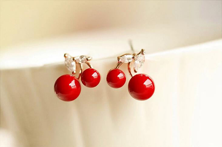 可爱红色樱桃珍珠耳钉