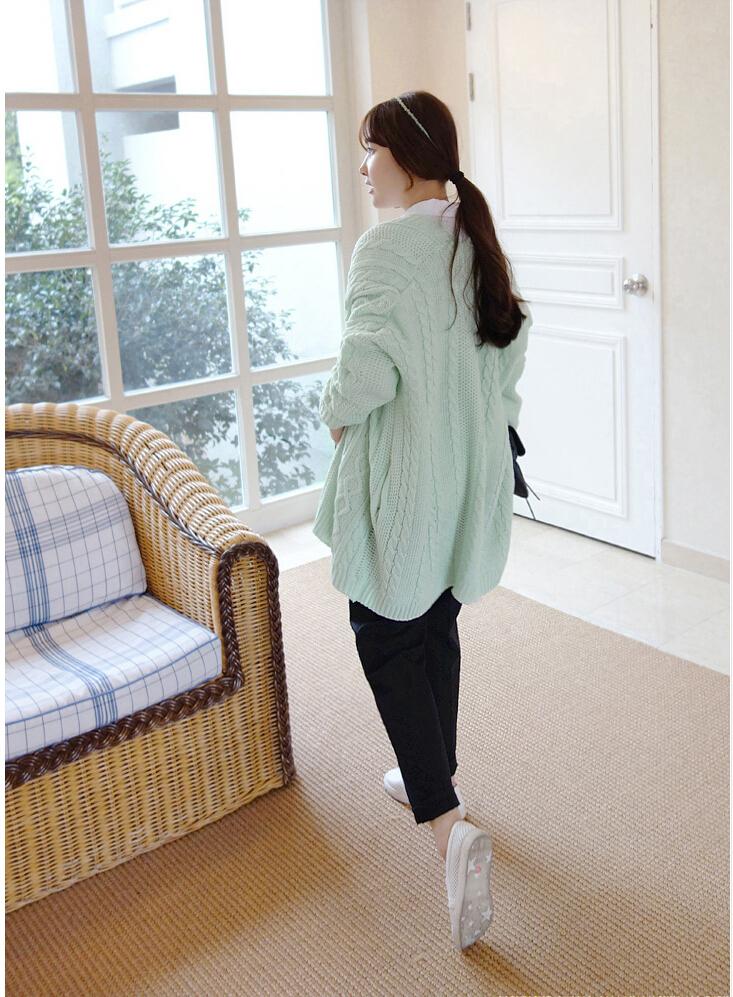 韩版麻花编织披肩式毛衣外套