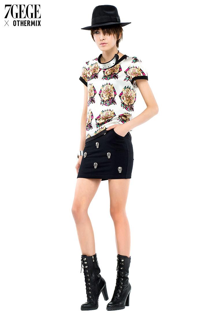七格格~骷髅铆钉设计&半身裙