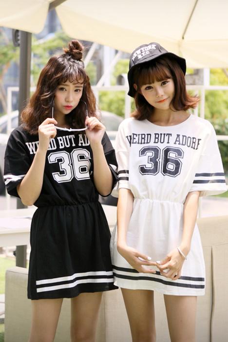 韩版,新款,夏季,打底,显瘦,棒球连衣裙,闺蜜装,印花,36字母条纹,学生