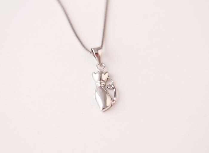 925纯银可爱猫咪项链