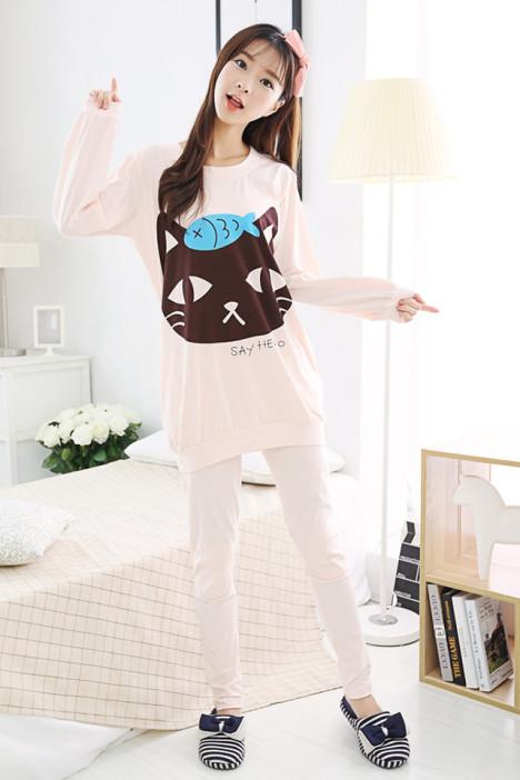 韩版可爱卡通纯棉家居服套装