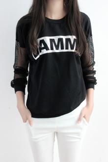 韩版宽松显瘦网格拼接长袖T恤