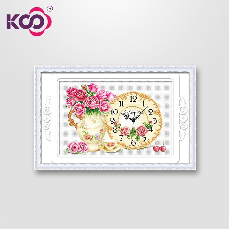 包邮ks印花十字绣正品专卖客厅新款玫瑰花瓶时钟y630