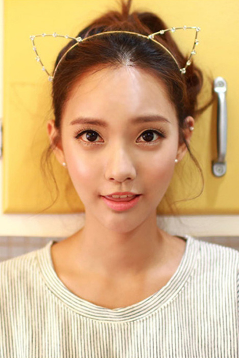 韩国可爱水晶钻猫耳朵发箍