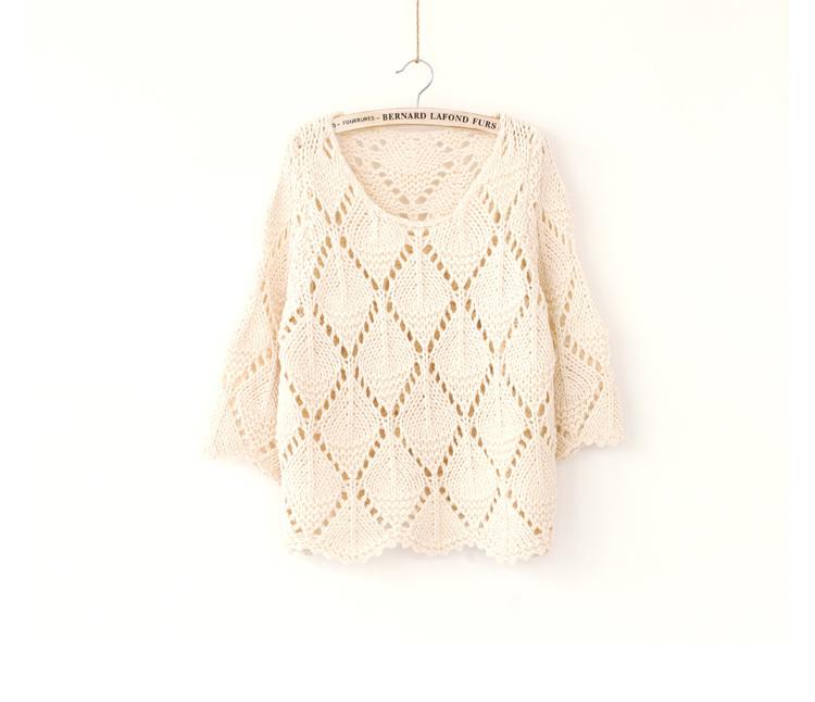 秋装钩花花边菱形镂空针织毛衣