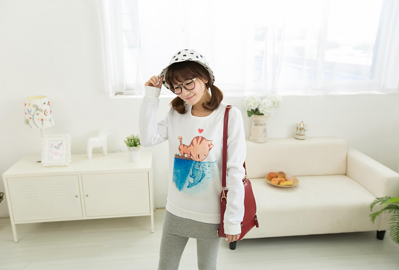 韩版可爱猫咪薄款卫衣
