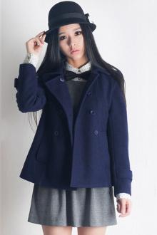 韩版学院风斗篷毛呢外套