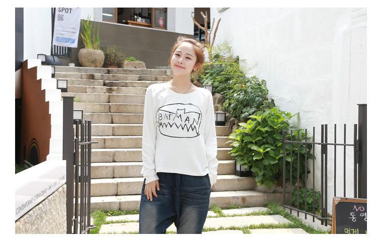 韩国手绘蝙蝠侠印花长袖t恤