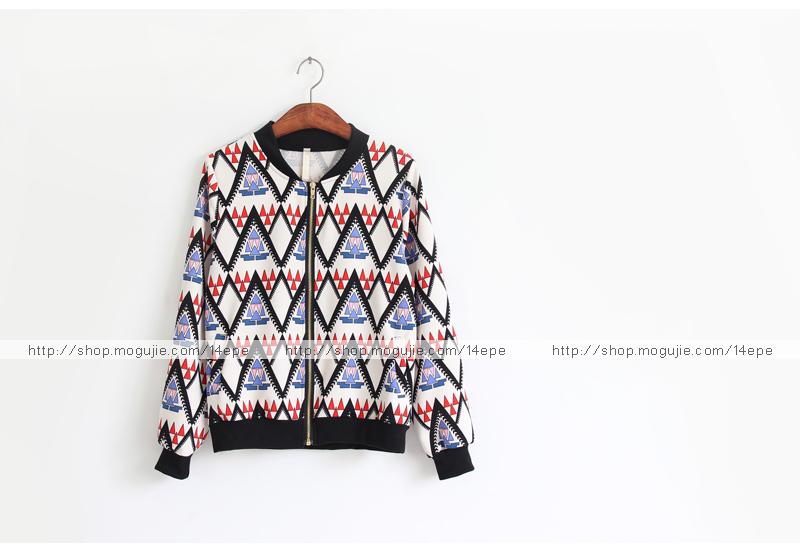 韩国秋装三角形图案宽松棒球外套