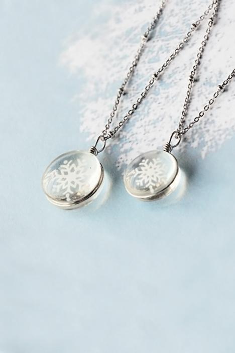 雪花,透明,纯银,锁骨链,情人节礼物