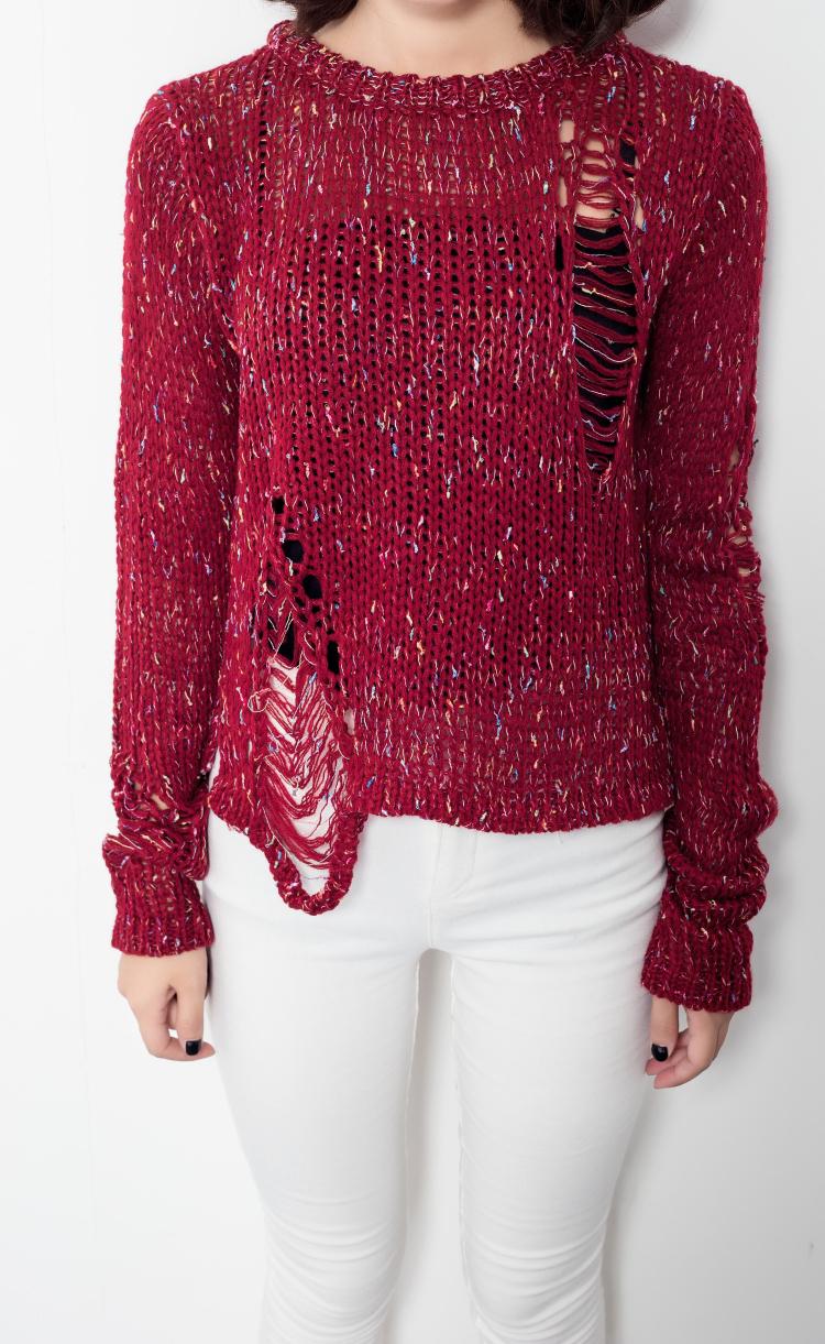 彩色毛线破洞针织套头毛衣