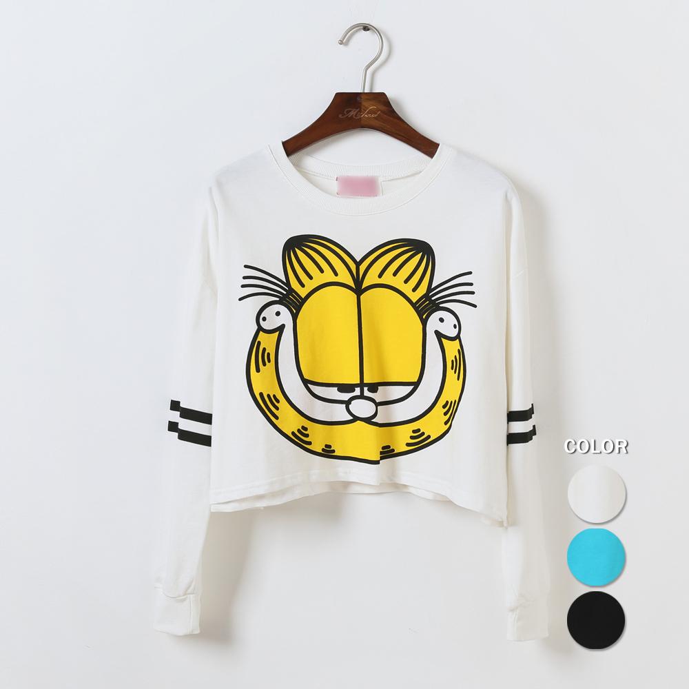韩系可爱加菲猫头像长袖卫衣