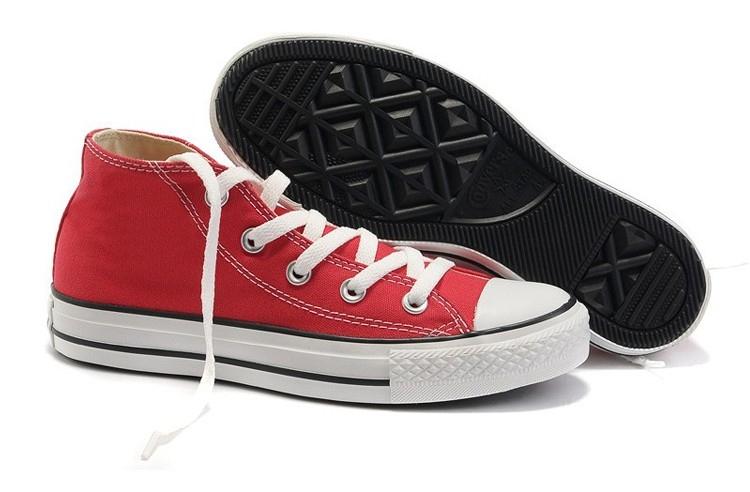 匡威经典款红色中帮帆布鞋图片