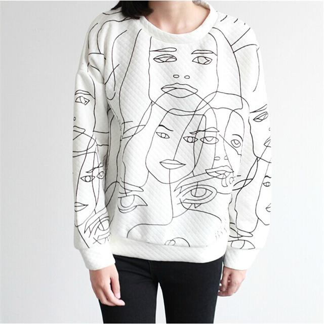 个性韩范儿涂鸦手绘头像厚卫衣