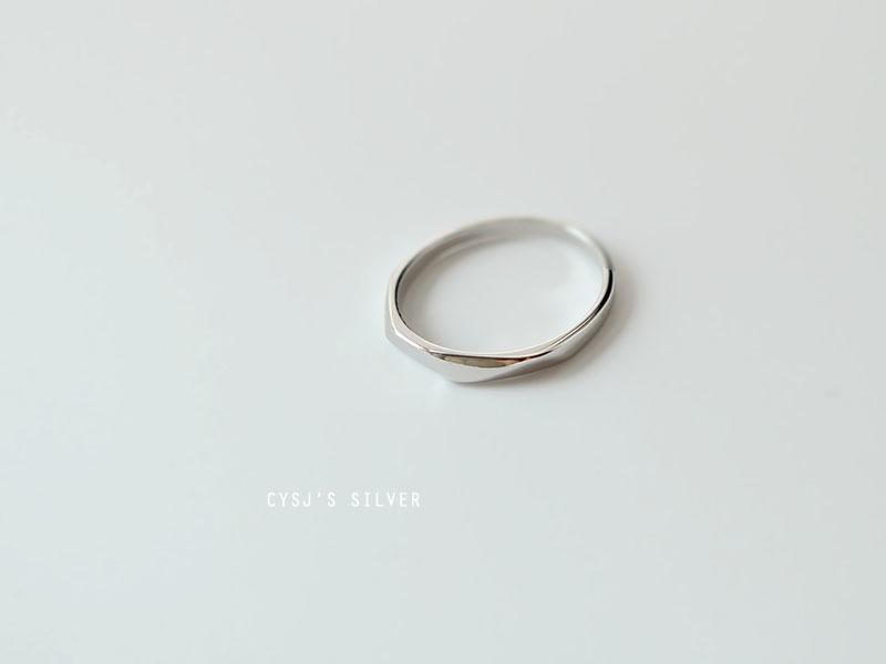 925纯银设计感立体切面戒指