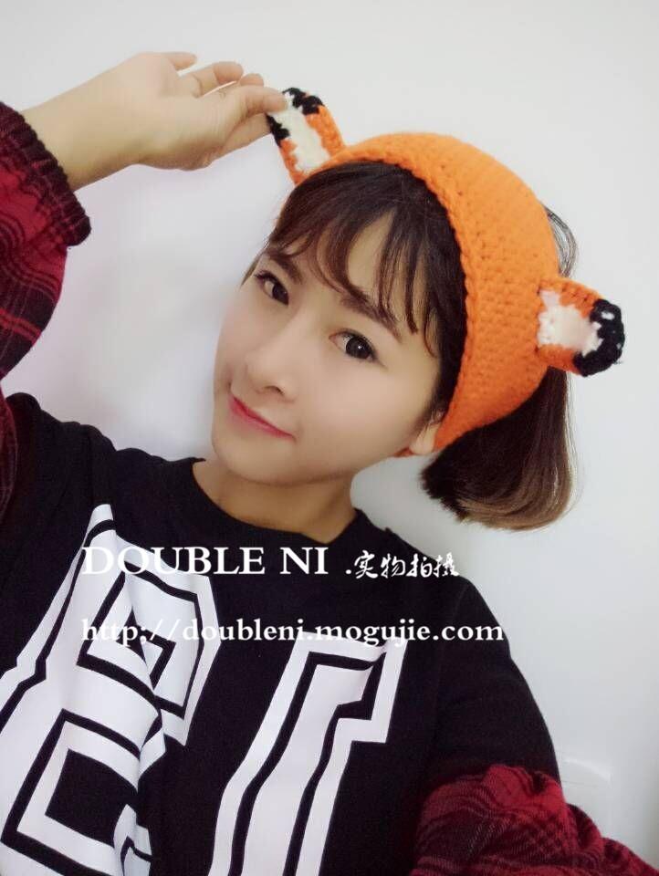 韩版可爱小狐狸毛线耳朵发带