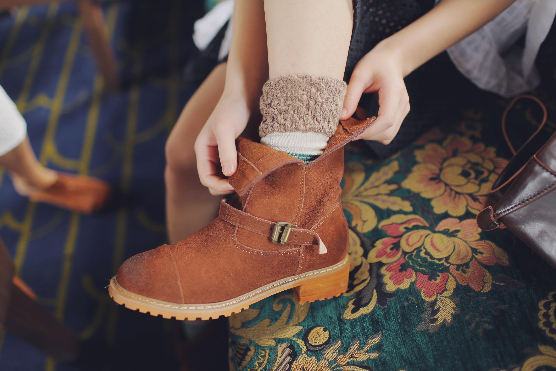 14森系复古文艺百搭气质靴子