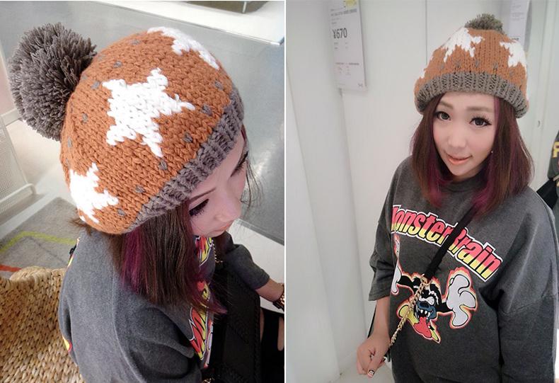 韩版可爱五角星贝雷毛线帽子