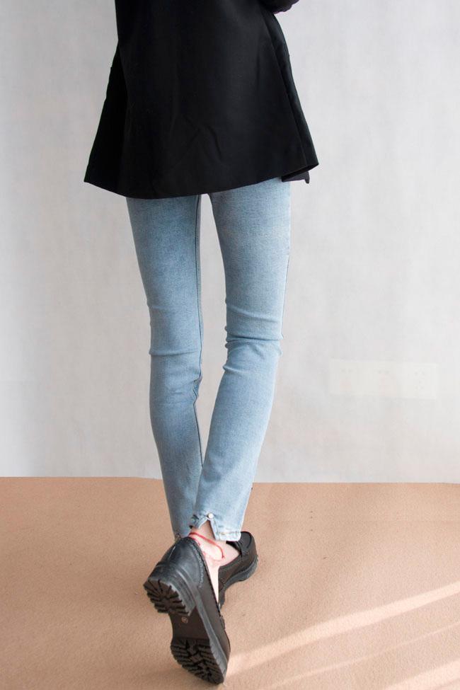 韩版弹力紧身九分小脚牛仔裤