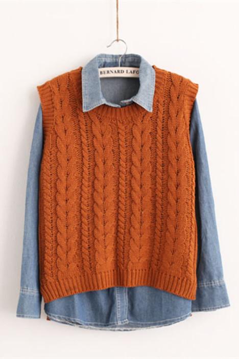 麻花编织宽松毛线马夹针织衫