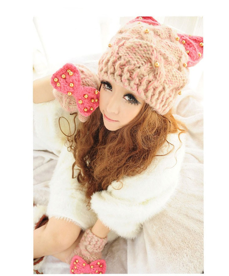 韩版可爱猫耳朵蝴蝶结针织帽
