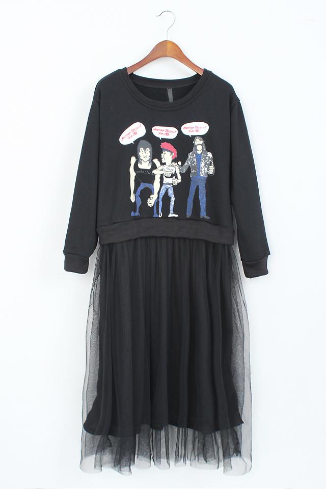 卡通人物卫衣纱连衣裙