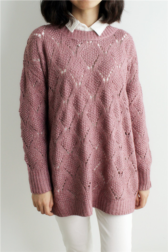 韩版好品质菱形块镂空毛衣