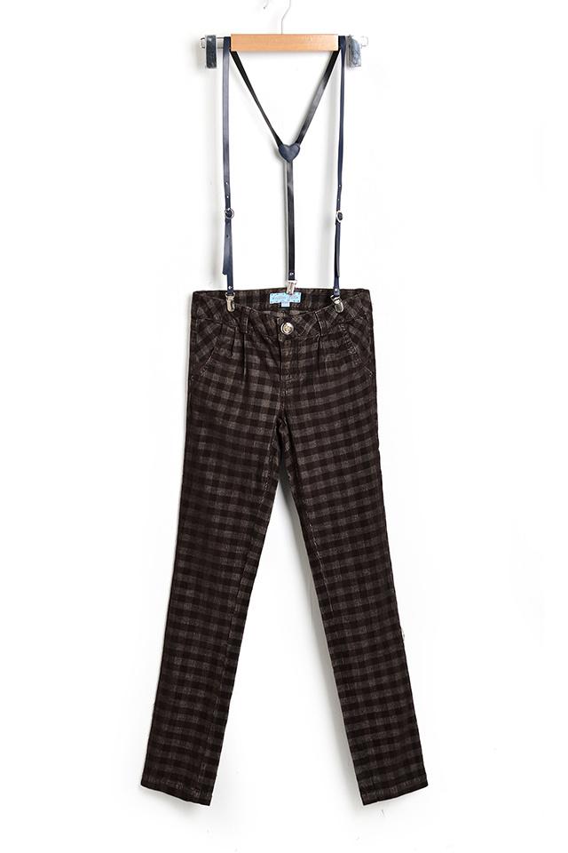 英伦格子修身背带裤