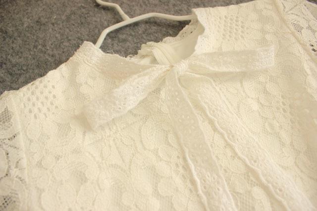 蕾丝蝴蝶结领结绑带连衣裙