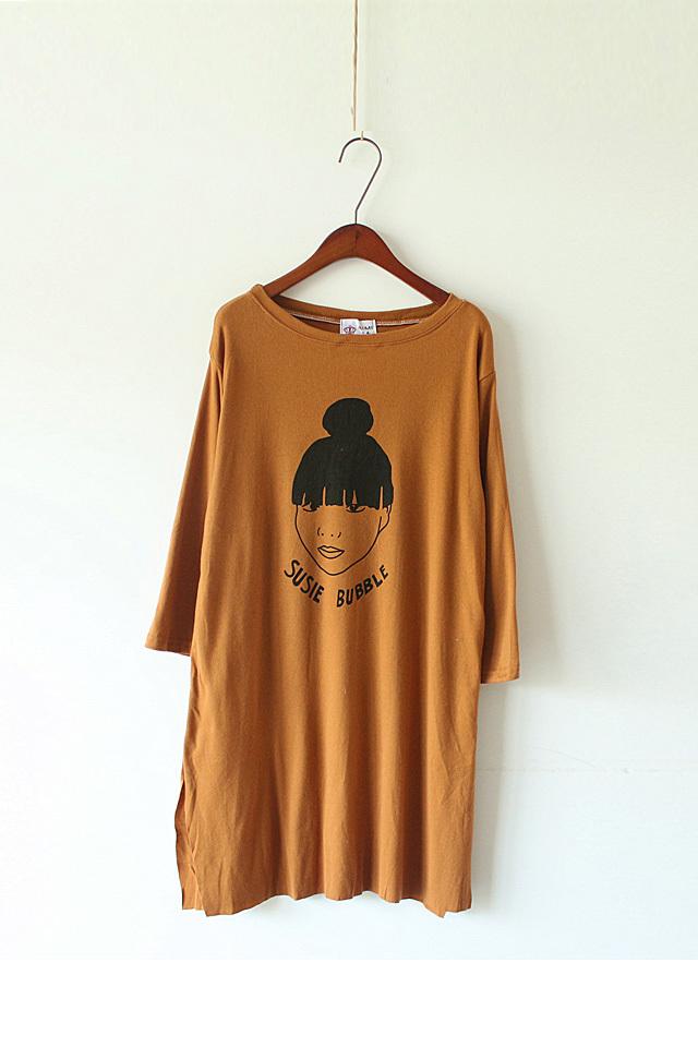 小清新森系小鹿长袖连衣裙