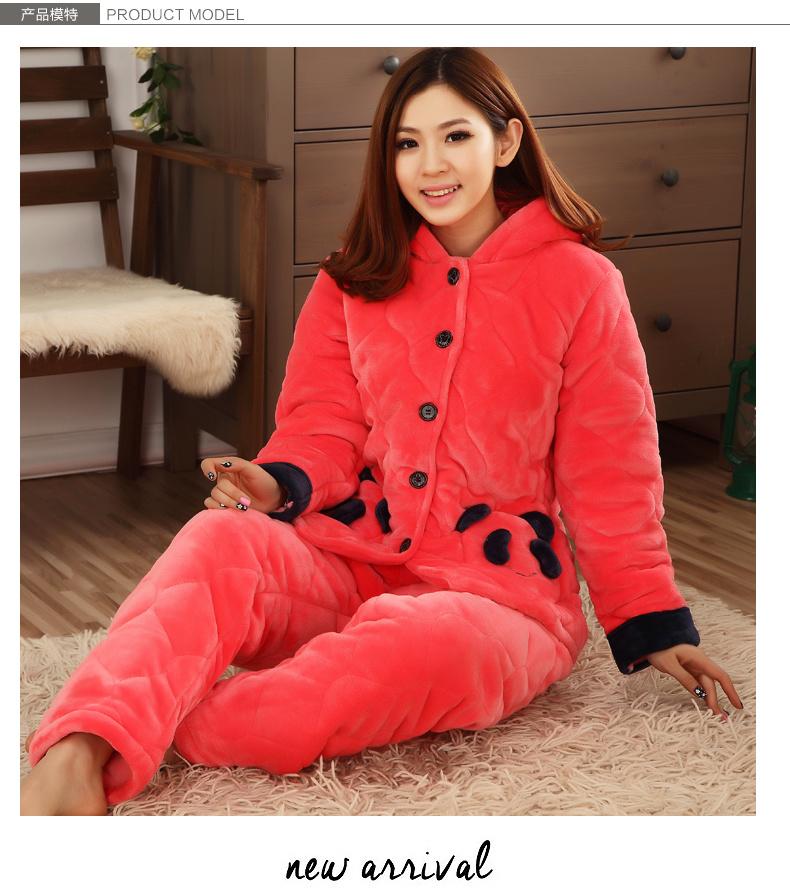 冬季加厚女士可爱夹棉睡衣