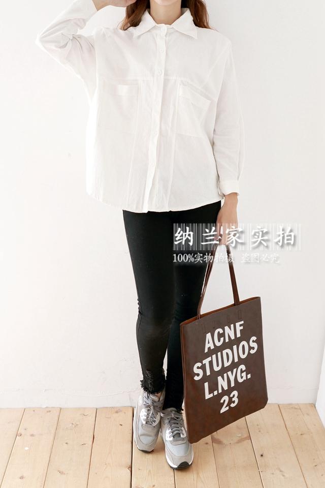 韩版纯色宽松白衬衫