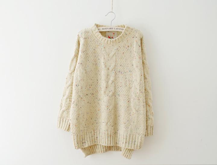 韩国小清新麻花毛衣
