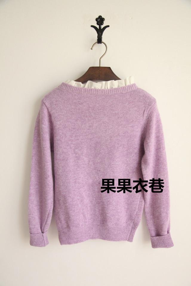 韩国爱心刺绣花边领口兔毛毛衣
