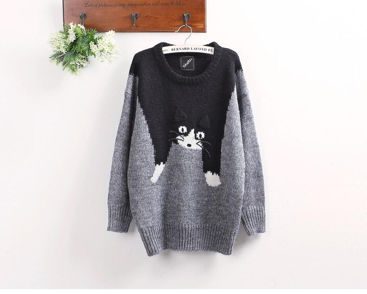 可爱小猫咪图案圆领套头毛衣