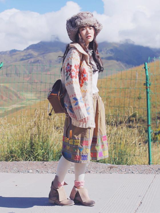 森林系民族风复古图腾花纹半身裙