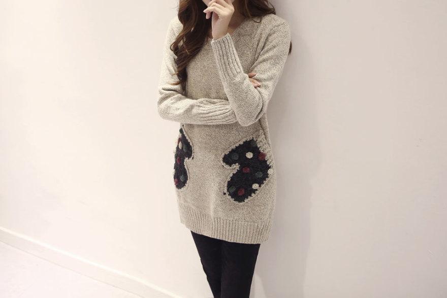 韩国可爱拼接手套口袋中长款毛衣