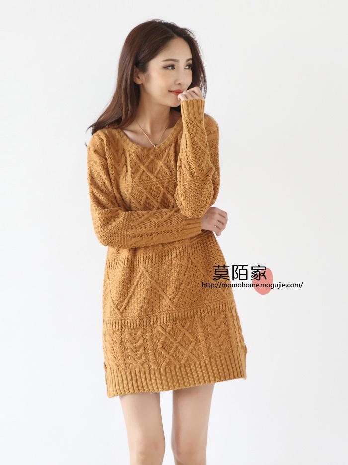 韩版麻花编织毛线连衣裙
