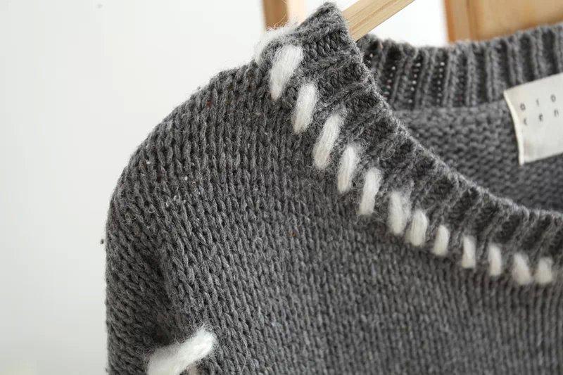 韩版毛线编织斜口袋针织套头毛衣
