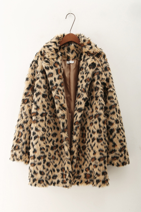 外套,大衣,冬装,豹纹,皮草,显瘦,中长款,毛绒外套,长外套,欧美风,欧版图片