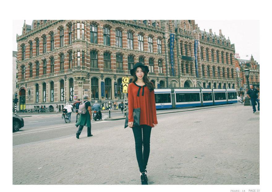 新款蝴蝶结配色设计长版女装上衣