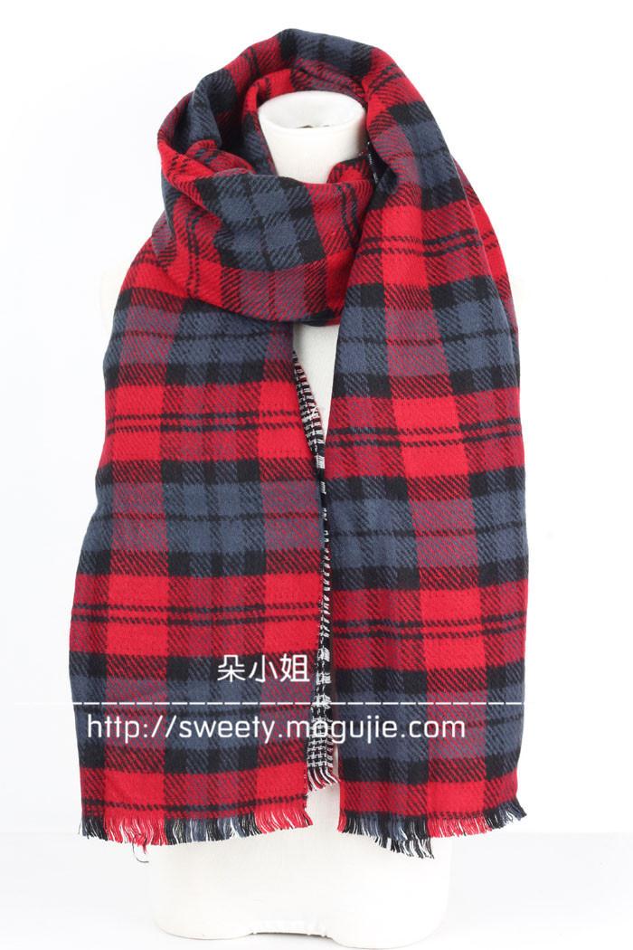 冬季格子双面加厚保暖围巾披肩
