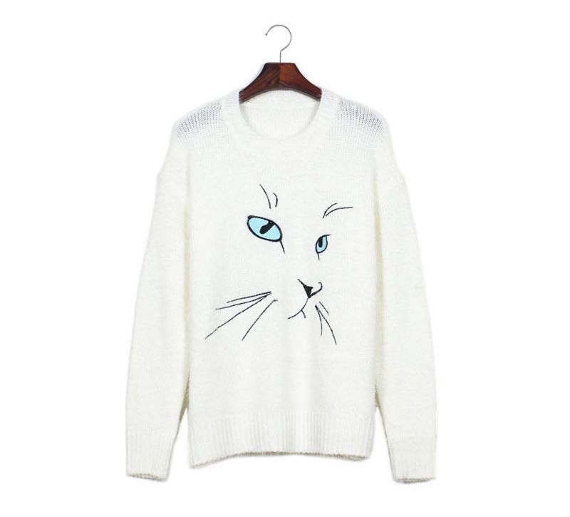78坎尼78卡通猫咪绣花图案毛衣-来自蘑菇街优店