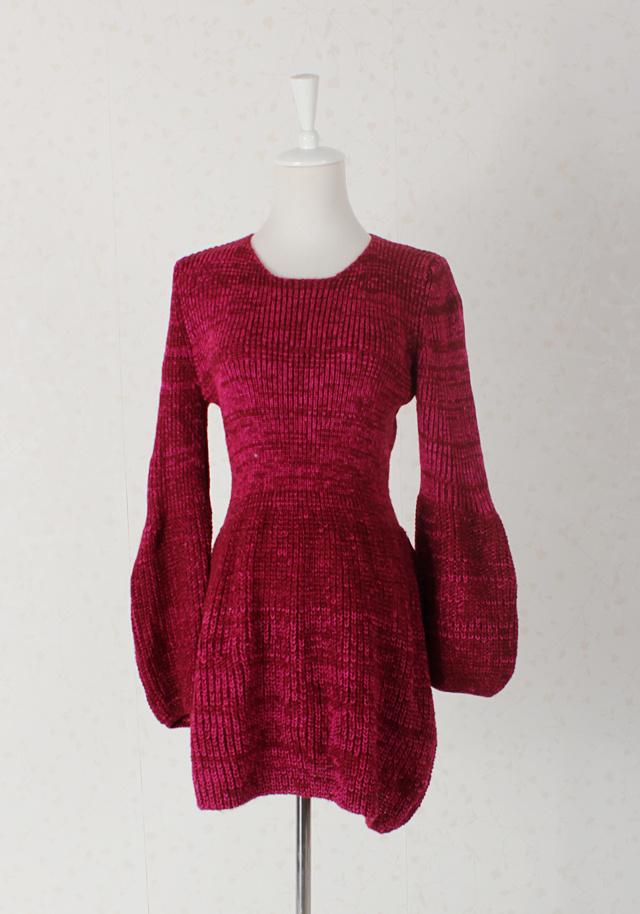 收腰显瘦灯笼袖毛线连衣裙