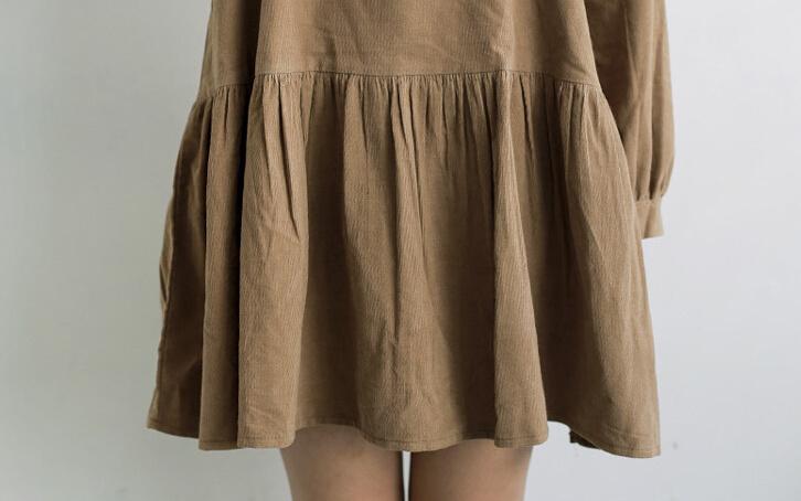 韩版文艺花边长袖连衣裙
