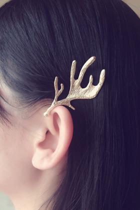 森系鹿角造型带钻发夹图片