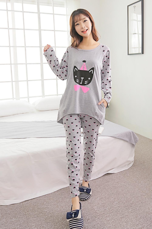 韩版灰色小猫咪女生睡衣